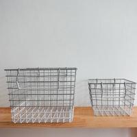 2色ワイヤーカゴ (角 / 白×シルバー)