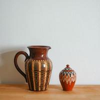 フラワーベース(茶・波①)