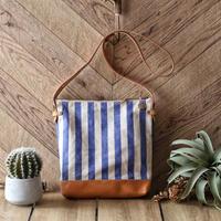 【THE SUPREIOR LABOR】stripe leather bottom shoulder bag deep L