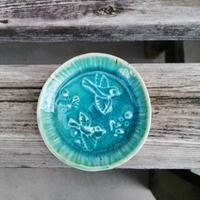 天平文様小皿[小鳥と花]グリーン/イエロー_ギャラリー花matsuri/花の器・食の器 ひろし【奈良きたまち商店街】