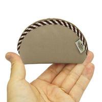 化粧ポーチ おしゃれで使いやすい ナラヤ NaRaYa 手のひらシェル型ケース・キャンバス(モカ・ストライプ) NCN-187A