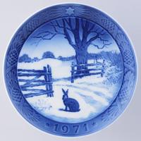 ロイヤルコペンハーゲン イヤープレート 1971年/昭和46年 「冬の野ウサギ」