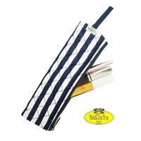 ナラヤ NaRaYa 化粧ポーチ 細型スリム メイクブラシ 化粧筆ケース M・ストライプ   NB-166A  送料無料