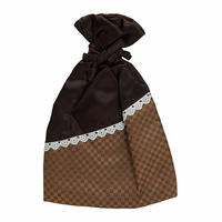 NaRaYa(ナラヤ) 巾着袋ポーチ(白レース付)・ミニチェック(ブラウン) NBCS-195/E