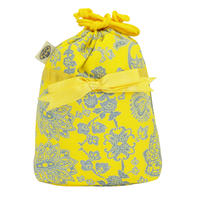 NaRaYa(ナラヤ) 巾着袋ポーチ(ランジェリーポーチ トラベルポーチ)・イエローペイズリー(NB-258/S)
