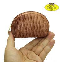 ナラヤ NaRaYa タイ かわいい手のひらサイズ シェル型ポーチ 化粧ポーチ ・プリーツ(ブラウン) NPL-37   送料無料