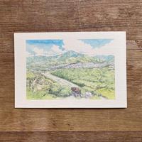 苗木城跡、中津川の街と恵那山