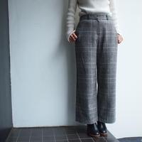 Glen check wool wide pants