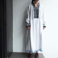 ~1940's East Europe Embroidery dress 【Dark Gray &Light blue 】