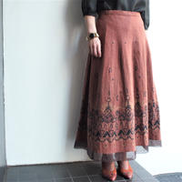 Brown Ethnic paint  flare skirt