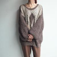 Volume sleeve shaggy knit