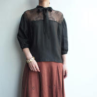 1970's80's Black ribbon tai blouse