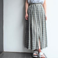 Front button Plaid long skirt