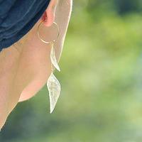山野草の葉っぱのピアス/イヤリング【Wリーフ 片耳用】14kgf