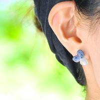 アジサイ【S/藍染】3枚花弁のピアス/イヤリング 14kgf