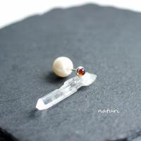 【noix】sv925 garnet pierce with pearl catch (1pc)