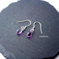 【rosee】glass drop pierce purple (2pcs)