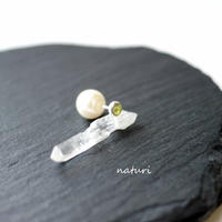 【noix】sv925 peridot pierce with pearl catch (1pc)