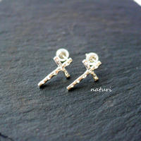【croix】sv925 cross pierce (2pcs)