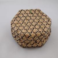 N-6 ふたつき 六角形 カゴ 小(ブリヤシ製)約 直径10㎝×高さ5cm