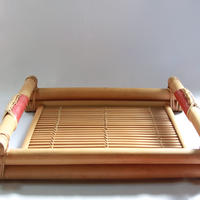 C728 革の柄つき 竹製トレイ 縦33.8 x 横39 x 高さ8 cm