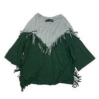 FRINGE HALF SLEEVE T-SHIRTS / HEATHER GRAY × MALACHITE GREEN