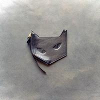 ネコ型 レザーコインケース  ブラック