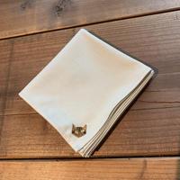 NECOREPA 刺繍ハンカチNo7 クリームベージュ茶トラ