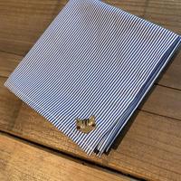 NECOREPA 刺繍ハンカチNo16 ブルーストライプ茶トラ