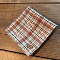 NECOREPA 刺繍ハンカチNo4 赤チェック茶トラ