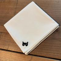 NECOREPA 刺繍ハンカチNo29 白猫ハチワレ