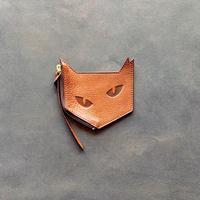 ネコ型 レザーコインケース  ブラウン