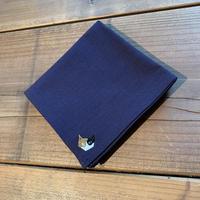 NECOREPA 刺繍ハンカチNo8 群青色ミケ
