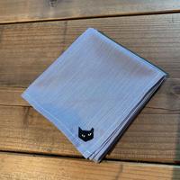 NECOREPA 刺繍ハンカチNo3 サックス黒猫