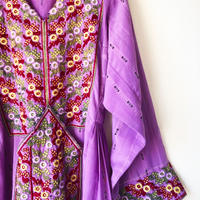 purple flowers baloch dress