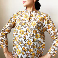 yellow block print short kurti