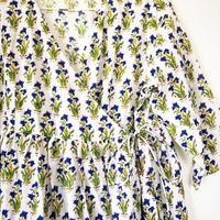 blue flowers block print kashcourt  dress