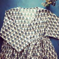 blue gray block print kashcourt  dress