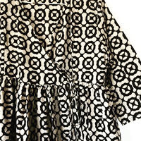 white black block print kashcourt  dress