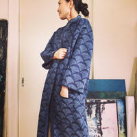 vintage  kantha long court NAVY