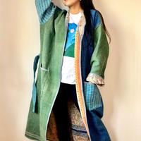 KANTHA KIMONO JACKET 2018sep blue&green