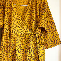 block print kashcourt  dress yellow