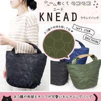♪メゾンドキャッツ♪キルティングに猫の顔や肉球が紛れ込んだ軽量ハンドバッグ