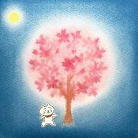 パステル原画(夜桜)