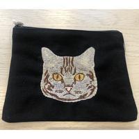 FLAPPAER 猫の刺繍ポーチ