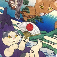 ハーフ手ぬぐい 猫託 タペストリー