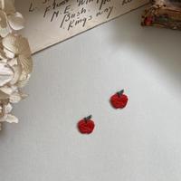りんご/2枚セット/刺繍アイロンワッペン