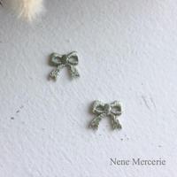 リボン/グリーン/刺繍アイロンワッペン 2枚セット