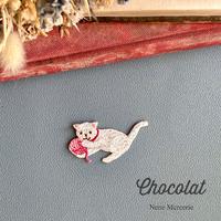 子猫のChocolatちゃん/レッド/刺繍アイロンワッペン