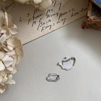 Tea  Set/カップ&ポットの2枚セット/刺繍アイロンワッペン